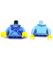Bright Light Blue Torso Female Hoodie, Blue Scrollwork, Kangaroo Pocket Bright Light Blue Arms Yellow Hands