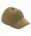 Dark Tan Minifig, Headgear Cap - Short Curved Bill with Seams and Hole on Top