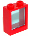 Red Window 1 x 2 x 2 Flat Front with Trans-Light Blue Glass