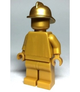 Statue - Pearl Gold with Metallic Gold Fire Helmet