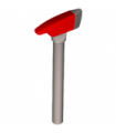 Flat Silver Minifig, Utensil Axe with Red Head and Silver Blade Pattern, Pick End and Long Handle