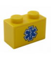 Yellow Brick 1 x 2 with Blue EMT Star of Life on Yellow Background Pattern (Sticker) - Set 60203