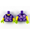 Dark Purple Torso with White and Lavender Flowers Pattern / Yellow Arms with Dark Purple Short Sleeves Pattern / Lime Hands
