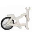 White Tricycle Frame with Trans-Clear Wheel Bicycle with Fixed Black Hard Rubber Tire (1-Piece Wheel)