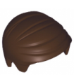 Dark Brown Minifigure, Hair Short Combed Sideways Part Left