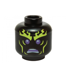 Black Minifigure, Head Alien with Yellowish Green Flaming Eyebrows and Cheek Lines, Dark Purple Eyes, Open Mouth