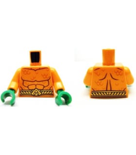 Orange Torso Bare Chest with Muscles Outline, Scales and Belt on Front and Back Pattern / Orange Arms / Green Hands