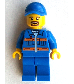 Blue Jacket with Pockets and Orange Stripes, Blue Legs, Blue Cap with Hole, Brown Moustache and Goatee