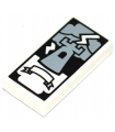 White Tile 1 x 2 with Groove with Tarot Tower Card Pattern