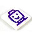White Tile 2 x 2 with Groove with Dark Purple Drawing of Minifigure Head and Shoulders
