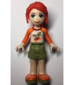 Friends Mia, Olive Green Shorts, White Top with Orange Sleeves and Acorns