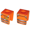 Orange Minifig, Vest with Straps and Fire Logo Pattern (Stickers) - Set 7239