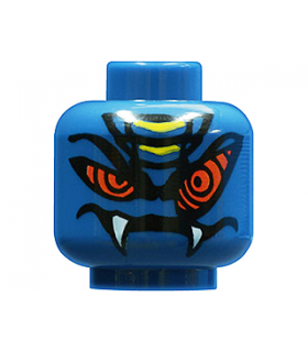 Dark Blue Minifig, Head Alien with Red Snake Eyes and Mouth with Fangs Pattern - Blocked Open Stud