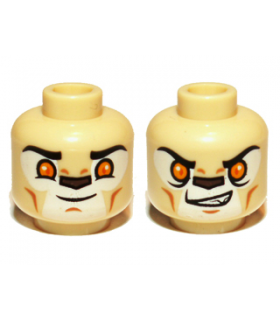 Tan Minifig, Head Dual Sided Alien Chima Lion with Bright Light Orange Eyes and Dark Brown Nose, Closed-Open Mouth (Laval)