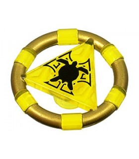 Trans-Yellow Ring with Center Triangle with Gold Bands and Turtle Pattern (Atlantis Treasure Key)