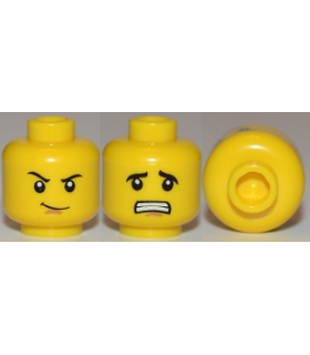Yellow Minifig, Head Dual Sided Thin Smirk, Raised Eyebrow / Scared with Teeth Pattern - Hollow Stud