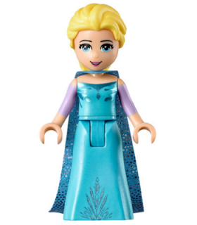 Elsa - Medium Blue Long Narrow Cape with Snowflakes, Lavender Sleeves