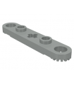 Light Gray Technic, Plate 1 x 5 with Toothed Ends, 2 Studs and Center Axle Hole