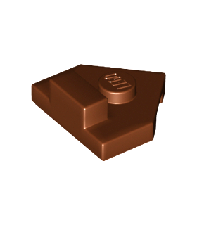 Reddish Brown Wedge, Plate 2 x 2 Pentagonal with Center Stud and 1 x 1/2 Raised Tab on Top
