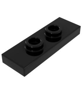Black Plate, Modified 1 x 3 with 2 Studs (Double Jumper)