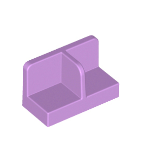 Medium Lavender Panel 1 x 2 x 1 with Rounded Corners and Center Divider