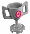 Light Bluish Gray Minifigure, Utensil Trophy Cup with Magenta Number 1 Pattern (Sticker) - Set 41122