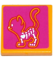 Bright Light Orange Tile 2 x 2 with Groove with X-Ray Cat Skeleton on Magenta Background Pattern