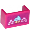 Magenta Panel 1 x 2 x 1 with Rounded Corners and 2 Sides with Cupcake, Hearts and Swirls Pattern