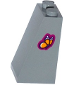 Light Bluish Gray Slope 75 2 x 2 x 3 - Solid Studs with Bright Light Orange Butterfly on Magenta Background Pattern on Side