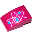 Magenta Slope, Curved 3 x 2 with Half Heart Electron Orbitals Pattern (Sticker) - Set 41116