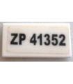 White Tile 1 x 2 with Groove with Black 'ZP 41352' License Plate Pattern (Sticker) - Set 76030