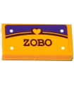 Bright Light Orange Tile 1 x 2 with Groove with Heart, 'ZOBO' and 4 White Rivets Pattern (Sticker) - Set 41116
