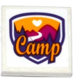 White Tile 2 x 2 with Groove with Friends Camp Pattern (Sticker) - Set 41122