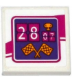 White Tile 2 x 2 with Groove with '2807' (28:07), Trophy and Checkered Flags Pattern (Sticker) - Set 41122