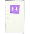 White Door 1 x 4 x 6 with Stud Handle with Male and Female Friends Silhouettes on Lavender Background (Sticker) - Set 41005