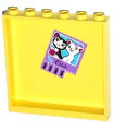 Bright Light Yellow Panel 1 x 6 x 5 with Cats, 'Ella' and Phone Numbers Pattern on Inside (Sticker) - Set 41005