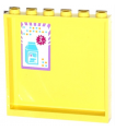 Bright Light Yellow Panel 1 x 6 x 5 with Medium Azure and Orange Dots, Milk Carton and Price on Inside (Sticker) - Set 41005