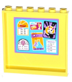 Bright Light Yellow Panel 1 x 6 x 5 with 'HLC' Bulletin Board Pattern on Inside (Sticker) - Set 41005