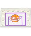 White Tile, Modified 4 x 6 with Studs on Edges with Basketball Backboard with Ball and 'HLC' Pattern (Sticker) - Set 41005