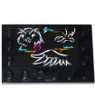 Black Tile, Modified 4 x 6 with Studs on Edges with Classroom Blackboard with Owl Head, Leg and Wing (Sticker) - Set 41005