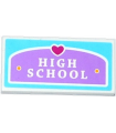 White Tile 2 x 4 with Heart and 'HIGH SCHOOL' Plaque Pattern (Sticker) - Set 41005