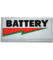 Light Bluish Gray Tile 2 x 4 with 'BATTERY' and Red and Green Lightning Bolt Pattern (Sticker) - Set 70809