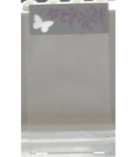 Trans-Clear Glass for Window 1 x 4 x 6 with Silver Butterfly and Pink Floral Pattern on Left Side