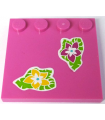 Dark Pink Tile, Modified 4 x 4 with Studs on Edge with Magenta and Yellow Flowers and Green Leaves Pattern
