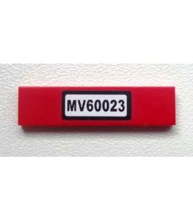 Red Tile 1 x 4 with Black 'MV60023' on White Background Pattern (Sticker) - Set 60023