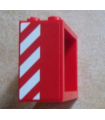 Red Window 2 x 4 x 3 Frame - Hollow Studs with Red and White Danger Stripes Pattern on Left Side (Sticker) - Set 60023