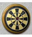Pearl Gold Tile, Round 2 x 2 with Bottom Stud Holder with Pearl Gold and Black Dart Board Pattern (Sticker) - Set 70812
