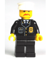 Police - City Suit with Blue Tie and Badge, Black Legs, Brown Moustache, White Hat