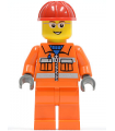 Construction Worker - Orange Zipper, Safety Stripes, Orange Arms, Orange Legs, Red Construction Helmet, Glasses (Crane Operator)