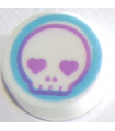 White Tile, Round 1 x 1 with Skull Face with Heart Eyes in Medium Azure Circle Pattern